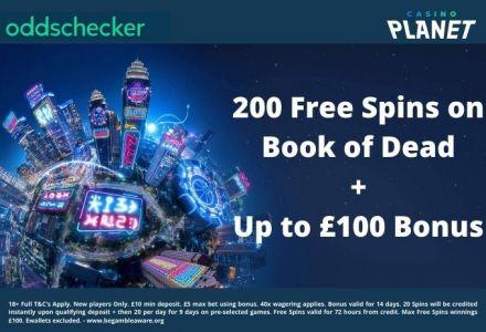 Casino Planet Bonus Offer: 200 Free Spins on Book of Dead