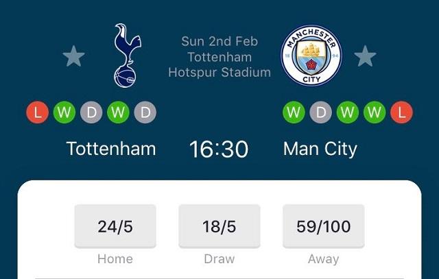 Spurs v Man City Odds